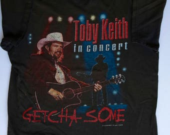 """Distressed 90s Toby Keith """"Getcha Some"""" Tour T-Shirt 