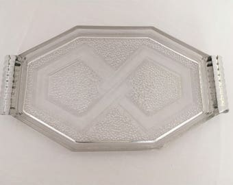 french vintage art deco molded glass tray