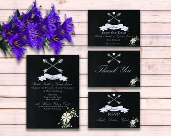Chalkboard Wedding Invitation - Printable Wedding Invitation Suite - Wedding Invitation Suite PDF - DIY Wedding Invitation - Black Wedding