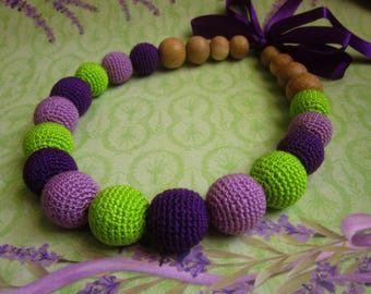 Crochet teething necklace, nursing necklace, purple, green, babywearing necklace, knitted beads, teething toys, breastfeeding necklace