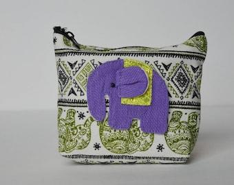 Purple on Green Elephant coin purse