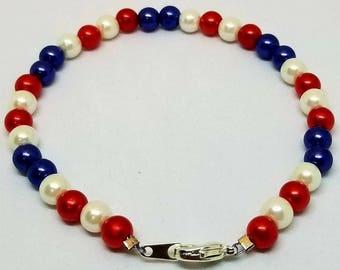 Red White And Blue Bracelet - USA Bracelet - 4th of July Bracelet - 4th of July Jewelry - Patriotic Jewelry - Patriotic Bracelet - USA