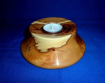 Handmade Wooden Tea-Light Holder, made in Yew