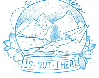 Adventure is out there snowglobe print