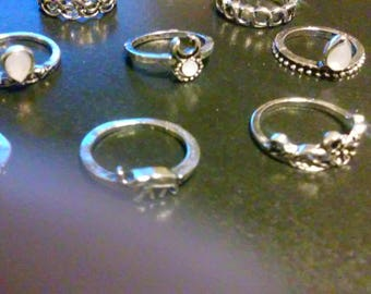Rings - Finger/Toe/Knuckle - Set of 10 Different Styles - Silvertone