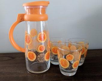 Vintage Orange Juice Carafe and 3 Juice Glasses   Glass Carafe with Handle   Orange Juice