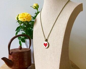 Cross-Stitch Heart Pendant Necklace - Handmade