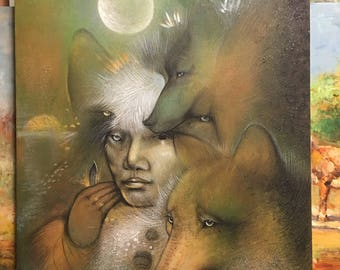 Original Woman and The Foxes Oil Painting on Canvas