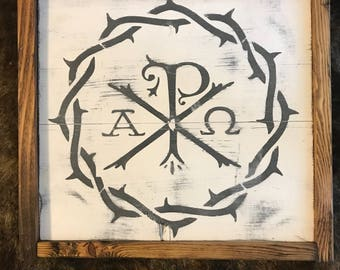 Large Distressed Chi Rho Sign (12x13)