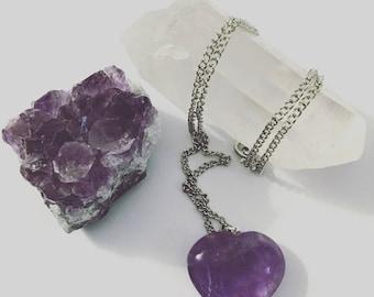 Heart shaped amethyst pendant