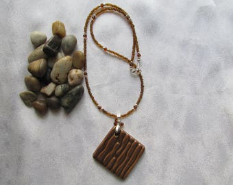 Brown Porcelain Seed Bead Necklace