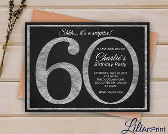 60th Birthday Invitation, Silver Invitation,  Silver Glitter Birthday Invite, Digital file 8