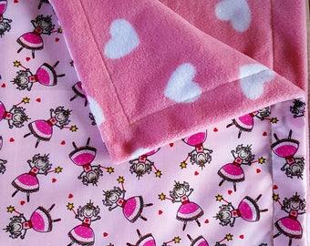 Fairy blanket, Princess blanket, Heart blanket, Baby blanket, Fairy baby blanket, Pink baby blanket, Princess baby blanket