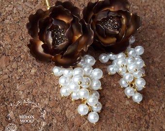 Flower earrings, Polymer clay earrings, Polymer clay jewelry, Handmade jewelry, Gift idea