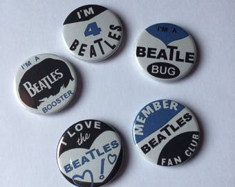 Beatles Fan Club Reproduction Badges - Set of 5