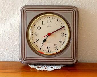 Vintage ceramic wall clock, quartz, Peter, made in Germany.