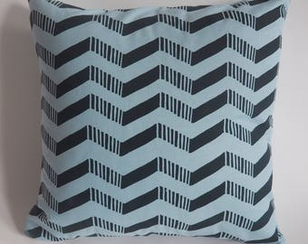 Hand made screen printed teal arrow patterned cushion