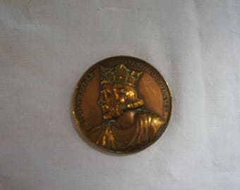 Medal bronze LOUIS VII said the young King of France