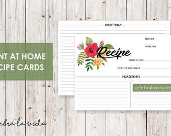 Recipe Card. Instant Download. Printable Recipe Card. Red and Yellow Flowery.