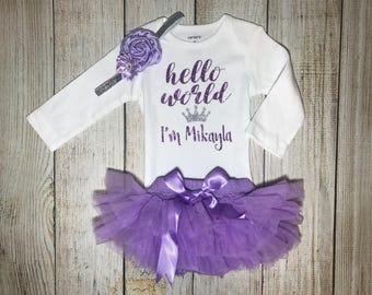 Baby Girl Coming Home Outfit - Hello World Outfit in Lavender - Personalized Hello World Outfit - Ruffle Bottom Bloomers - Newborn Photos