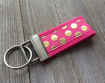 Pink Gold Polka Dot Key Fob - Key Chain - Key Fob - Pink - Gift for Her