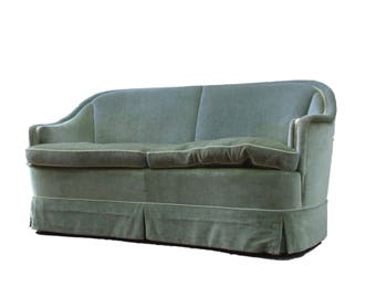 Small sofa, loveseat in green suede from the 1950s