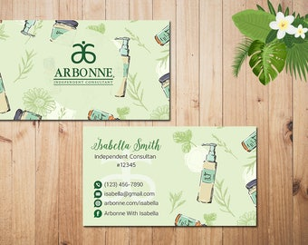 PERSONALIZED Arbonne Business Cards, Custom Arbonne Business, Green Arbonne Business Card, Custom Business Card, Printable Card AR06