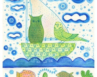 Owl and Budgie in a Boat 8 x 10 print - children and baby wall art, decor, interior design,