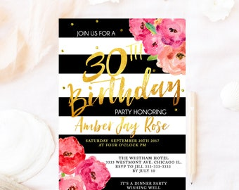Kate birthday invitation, milestone birthday invite, Spade birthday invitation, floral Kate birthday invitation, gold foil birthday party