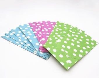 4 Gift Bags. Polka Dot Paper Gift Bags. Pink. Green. Blue. Gift Bags. Party Favor Bags. Party Bags