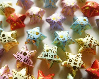 Miss You Origami Stars - Message Embossed Wishing Stars,Embellishment,Home Decor,Enclosure