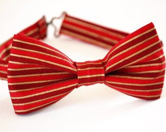 Christmas bow tie, red gold striped bow tie, boy's bow tie, men's bow tie, red bow tie, kid's bow tie