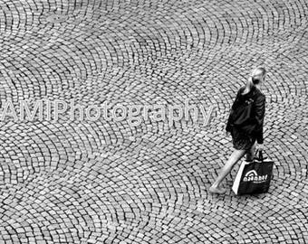 woman gray black white digital print city view photography potographed by Avi Abramovitz