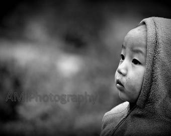 Thailand boy 1 black & white photography digital file printable home decor potographed by Avi Abramovitz