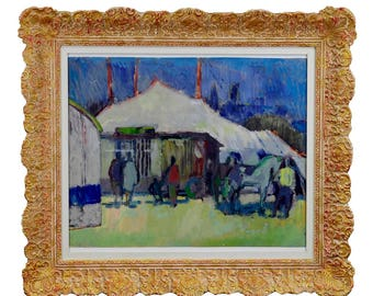 Unknown - impressionistic watercolor painting of a circus scenery