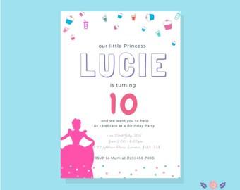 Disney Princess Invitation | Printable Princess Birthday Invitation | 10th Birthday Invitation | Instant Download Invitation