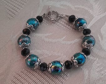 Tibetan style blue and black bracelet