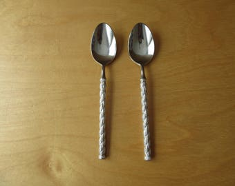 2 Stainless Teaspoons of STRAITA by STANLEY ROBERTS. Vintage Flatware Made in Japan