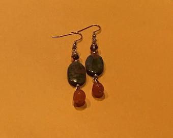 Unakite Jasper & Orange Carnelian Gemstone Earrings