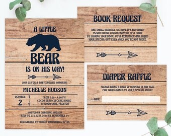 Rustic Baby Shower Invitation Woodland Baby Shower Invitation and Diaper Raffle Cards Woodland Book Instead of Card Baby Sprinkle Boy BBL