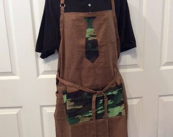 Chef style apron, BBQ brown camo apron for dad,
