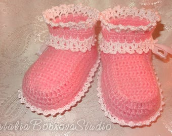 Ready to ship pink lacy booties for newborn girls, 3 4 5 6 month