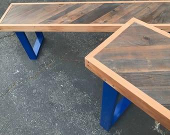 Reclaimed Wood Diagonal Pattern Bench Pop Blue