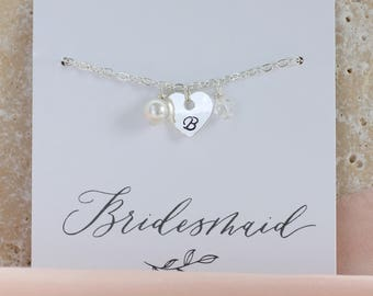 Personalised bridesmaid bracelet / bridesmaid gift / heart charm bracelet / birthday gift / gift for her