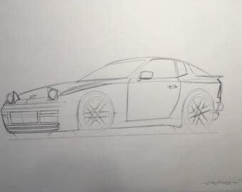 Porsche 944 car drawing - pen