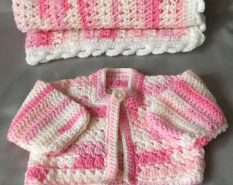 Premmie baby girl blanket and cardigan set.