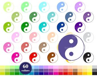 Yin Yang Clip Art, Planner Clipart, Colors Yin Yang, Rainbow Clip Art, Yin Yang Digital Clipart, Yin Yang Printable