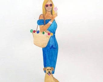 Custom made little portrait of you and your dog. Or without your dog.