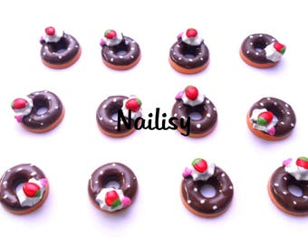 1 cabochon 18mm REF2099 chocolate donuts