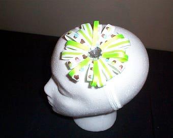 Green and White Cupcake and Rhinestone headband